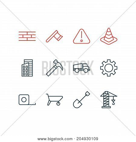 Editable Pack Of Lifting, Lorry, Road Sign And Other Elements.  Vector Illustration Of 12 Construction Icons.