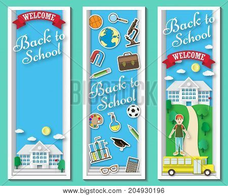 Three vertical Back to school vector frames and banners with doodle stationery and school building in blue background. Paper cut shapes design illustration. Vector paper art school banners.