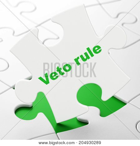 Politics concept: Veto Rule on White puzzle pieces background, 3D rendering