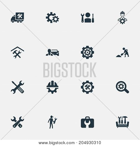 Elements Van, Renovation, Specialist And Other Synonyms Gear, Builder And Services.  Vector Illustration Set Of Simple Mending Icons.