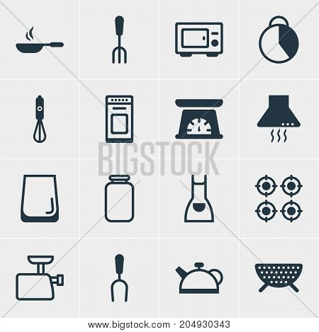 Editable Pack Of Furnace, Measuring Tool, Oven And Other Elements.  Vector Illustration Of 16 Restaurant Icons.