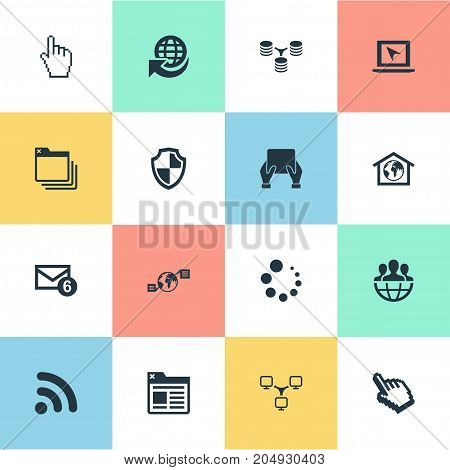Elements Circle Loader, Defense, Wifi And Other Synonyms Defense, Computer And Folder.  Vector Illustration Set Of Simple Network Icons.