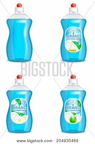 Vector set of realistic dishwashing liquid product icons isolated on background. Plastic bottle label design. Washing-up liquid or dishwashing soap brand advertising templates.