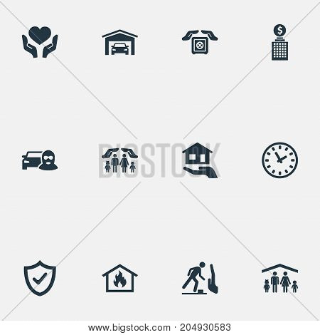 Elements Car Thief, Vehicle Assurance, Protection And Other Synonyms Safety, Property And Protection.  Vector Illustration Set Of Simple Safeguard Icons.