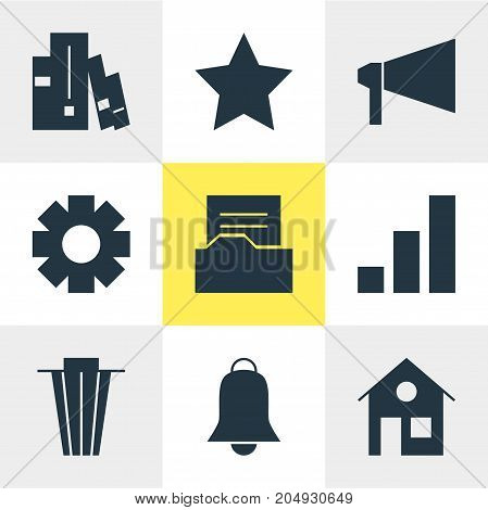 Editable Pack Of House, Bookshelf, Trash And Other Elements.  Vector Illustration Of 9 Web Icons.