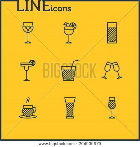 Editable Pack Of Celebrate, Goblet, Champagne And Other Elements.  Vector Illustration Of 9 Beverage Icons.