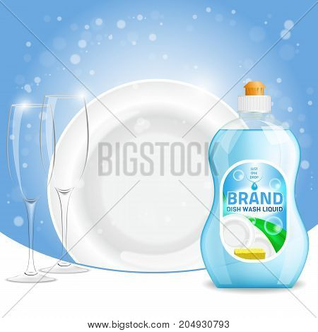 Vector 3d illustration of green color dishwashing liquid product advertisement. Plastic bottle label design. Washing-up liquid or dishwashing soap brand advertising poster.
