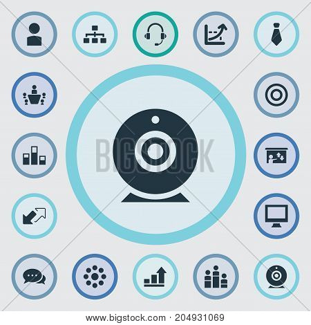 Elements Increase Graph, Monitor, Camera And Other Synonyms Monitor, Chart And Message.  Vector Illustration Set Of Simple Training Icons.