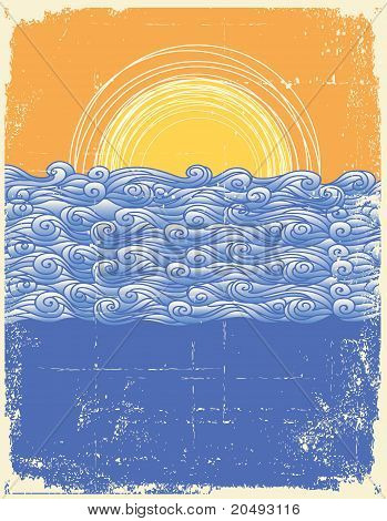 Abstract Sea Waves. Vector Illustration Of Sea Landscape.grunge Image