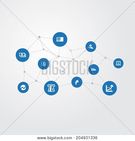 Elements Payment, Laptop, Revenue And Other Synonyms Bucks, Analytics And Saving.  Vector Illustration Set Of Simple Currency Icons.
