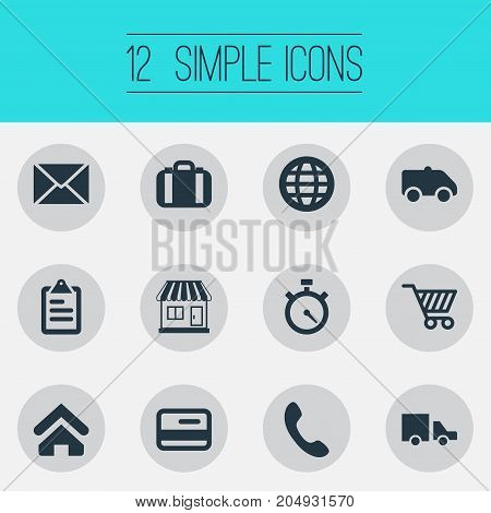 Elements Online Transaction, Market Cart, Envelope And Other Synonyms Debit, Globe And Shop.  Vector Illustration Set Of Simple Handing Icons.