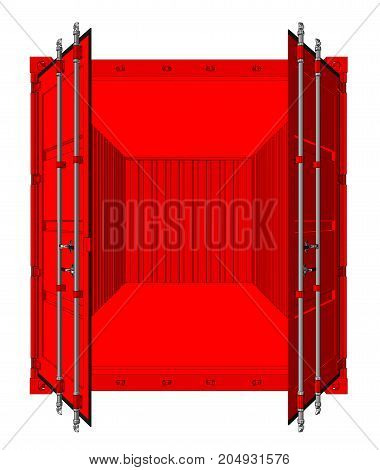 Vector of open cargo container isolated on white background. Vector rendering of 3d