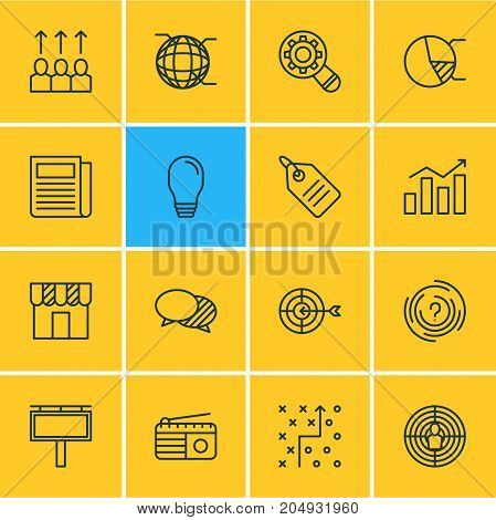 Editable Pack Of Circle Diagram, Discussing, Fm Broadcasting And Other Elements.  Vector Illustration Of 16 Marketing Icons.