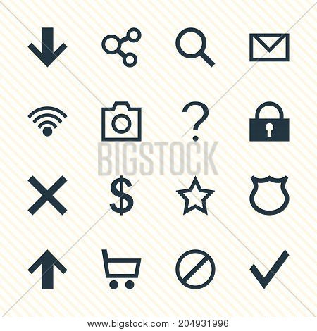 Editable Pack Of Snapshot, Shield, Help And Other Elements.  Vector Illustration Of 16 Interface Icons.