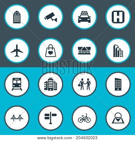 Elements Polyclinic, Apartment, Pin And Other Synonyms Home, Velocipede And Megapolis.  Vector Illustration Set Of Simple Public Icons.