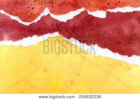 Abstract red, yellow and orange watercolor background, hand painted texture, paper illustration