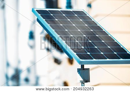 Picture of solar panel absorbing energy from sun light
