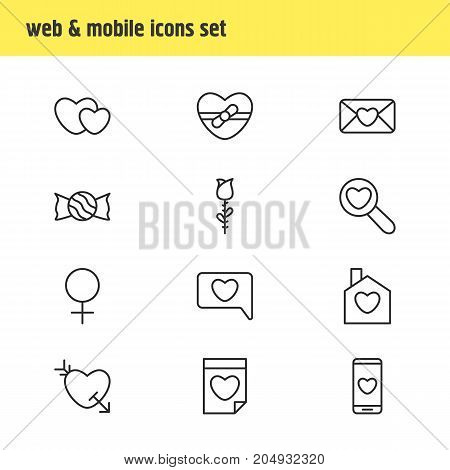 Editable Pack Of Home, Woman, Valentine And Other Elements.  Vector Illustration Of 12 Love Icons.