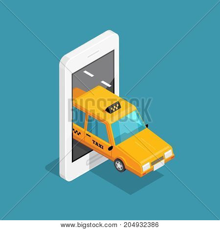 Smart taxi isometric design concept with yellow cab leaves from screen of smartphone vector illustration