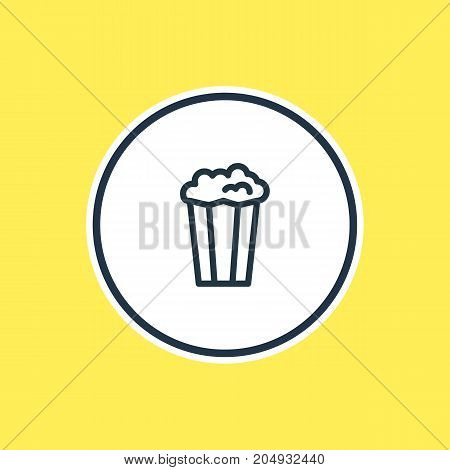 Beautiful Leisure Element Also Can Be Used As Cinema Snack Element.  Vector Illustration Of Popcorn Outline.