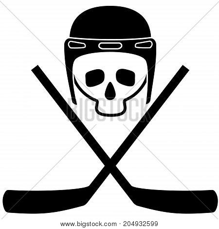 Skull in helmet and crossed hockey sticks. Black and white icon. White background. Isolated objects. Vector illustration