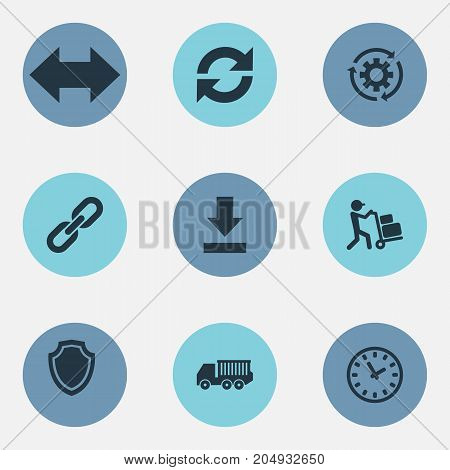 Elements Cycle, Period, Employee And Other Synonyms Link, Cogwheel And Gear.  Vector Illustration Set Of Simple Engineering Icons.