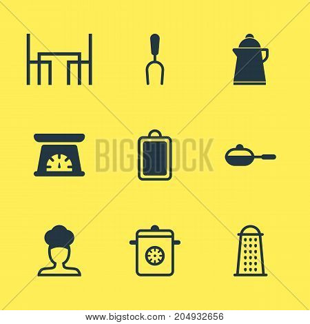 Editable Pack Of Chopping Desk, Pan, Measuring Tool And Other Elements.  Vector Illustration Of 9 Restaurant Icons.