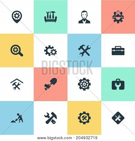 Elements Staff, Magnifier, Gear And Other Synonyms Team, Tool And Magnifier.  Vector Illustration Set Of Simple Fixing Icons.