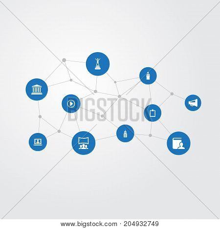 Elements List, University, Academy And Other Synonyms Start, Success And Teacher.  Vector Illustration Set Of Simple Speaker Icons.