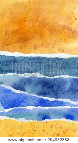 Abstract blue and yellow watercolor background, hand painted texture, paper illustration of beach