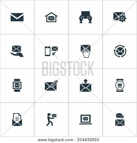 Elements Refresh Message, Messaging, Make Up And Other Synonyms Hand, Office And Internet.  Vector Illustration Set Of Simple Message Icons.
