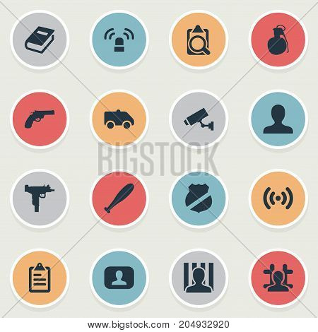 Elements Person, Weapon, Checklist And Other Synonyms Alarm, Jail And Checkbox.  Vector Illustration Set Of Simple Crime Icons.