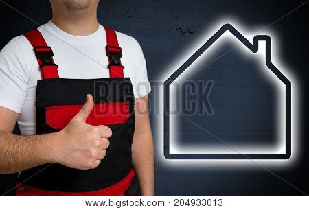 House Icon Is Shown By Craftsman With Thumbs Up