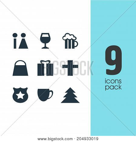Editable Pack Of Jungle, Cop, Present And Other Elements.  Vector Illustration Of 9 Location Icons.