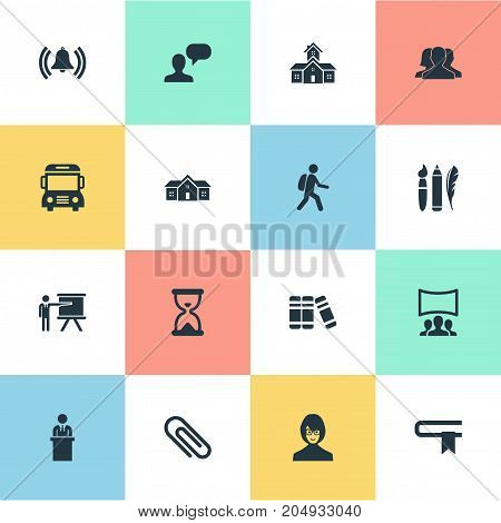 Elements Literature, School, Bookstore And Other Synonyms Textbook, Hourglass And Pencil.  Vector Illustration Set Of Simple School Icons.
