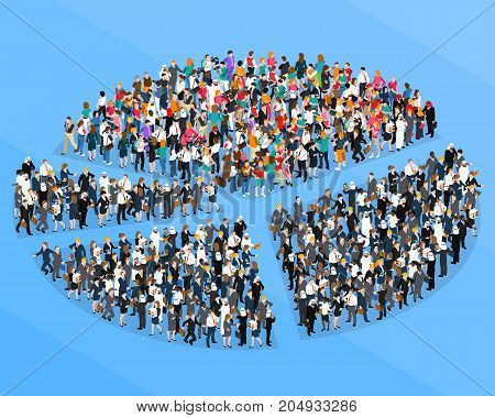 Colored crowd people isometric pie chart composition with people who organized flash mob vector illustration