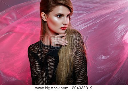 Beauty Fashion Portrait Of A Young Blonde Girl.