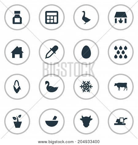 Elements Flowerpot, Cow, Medicament And Other Synonyms Accounting, Plant And Goose.  Vector Illustration Set Of Simple Agricultural Icons.