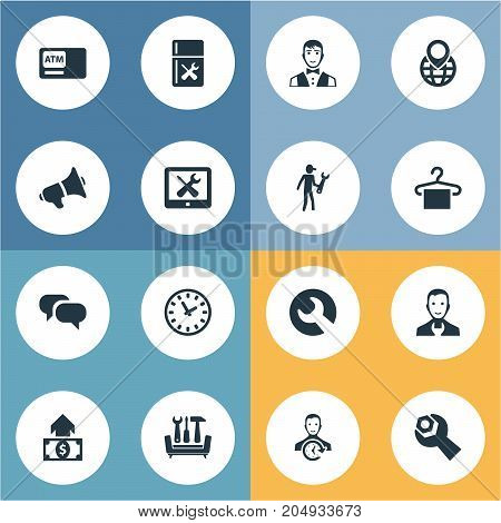 Elements Automatic Teller Machine, Time, Spanner And Other Synonyms Globe, Fridge And Vehicle.  Vector Illustration Set Of Simple Help Icons.