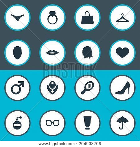 Elements Kiss, Purse, Fragrance And Other Synonyms Haircut, Handle And Purse.  Vector Illustration Set Of Simple Glamour Icons.