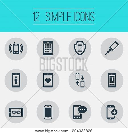 Elements Soul On Phone, Media, Save And Other Synonyms Link, Smartphone And Call.  Vector Illustration Set Of Simple  Icons.
