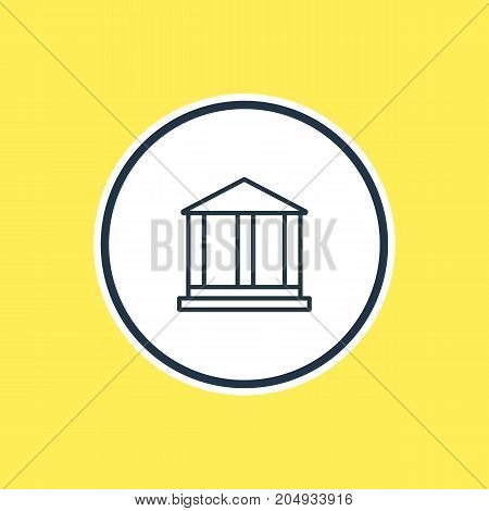 Beautiful Public Element Also Can Be Used As Courthouse Element.  Vector Illustration Of Academy Outline.