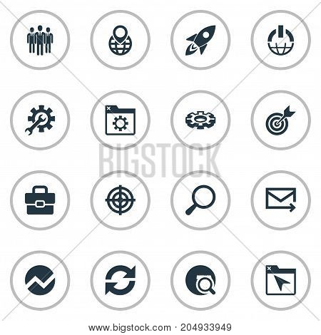 Elements Detail, Reload, Medicine And Other Synonyms Team, Pin And Aim.  Vector Illustration Set Of Simple SEO Icons.