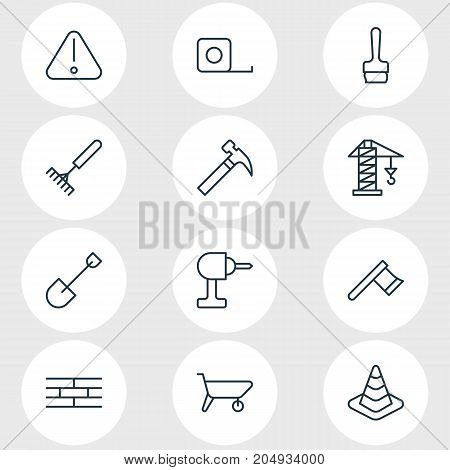 Editable Pack Of Hatchet, Road Sign, Harrow And Other Elements.  Vector Illustration Of 12 Industry Icons.