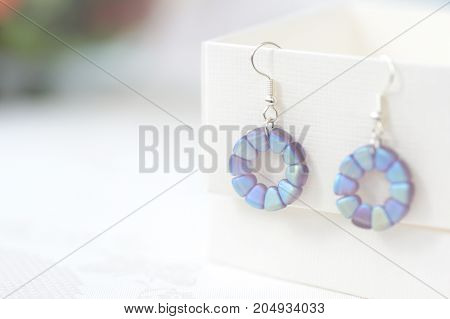 Round Beaded Earrings Blue Color Close Up