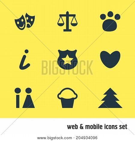 Editable Pack Of Toilet, Jungle, Pet Shop And Other Elements.  Vector Illustration Of 9 Map Icons.