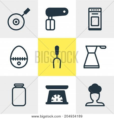 Editable Pack Of Kettle, Oven, Cook And Other Elements.  Vector Illustration Of 9 Kitchenware Icons.