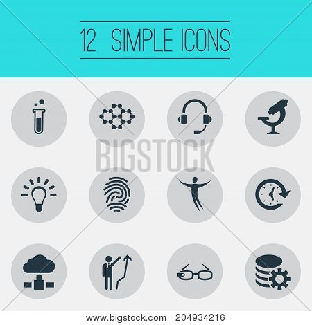 Elements Clock, Server, Idea And Other Synonyms Bulb, Communication And Manager.  Vector Illustration Set Of Simple Creativity Icons.