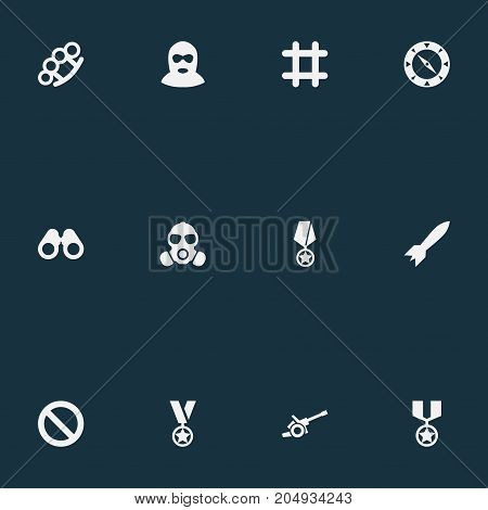 Elements Prison, Terrorist, Compass And Other Synonyms Reward, Binoculars And Remuneration.  Vector Illustration Set Of Simple Battle Icons.