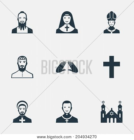 Elements Orison, Jewish Clergy, Crucifix And Other Synonyms Clergy, Blessing And Synagogue.  Vector Illustration Set Of Simple Faith Icons.